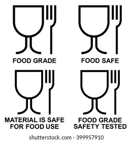 Food grade icon set , Food safe icon set , food grade safety tested icons , vector illustrations
