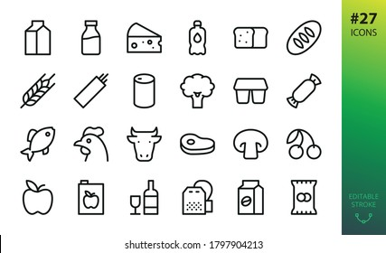 Food and grocery store icons set. Set of gastronomy food, kefir pack, milk bottle, cow head, meat steak, crisps, snacks, wheat bread, loaf, tea bag, coffee pack, apple juice isolated vector icon