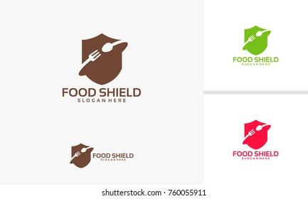 Food Guard logo template, Food Shield logo designs vector