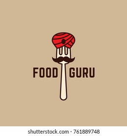 Food guru logo template design with a fork. Vector illustration.