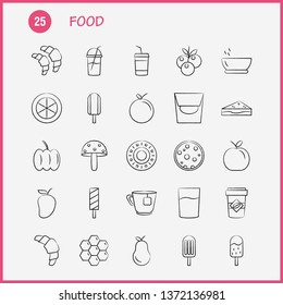 Food Hand Drawn Icon for Web, Print and Mobile UX/UI Kit. Such as: Croissant, Food, Eat, Ice, Ice Cream, Eat, Cream, Pictogram Pack. - Vector