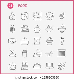 Food  Hand Drawn Icons Set For Infographics, Mobile UX/UI Kit And Print Design. Include: Fruit, Water Melon, Food, Meal, Fruit, Juice, Food, Collection Modern Infographic Logo and Pictogram. - Vector