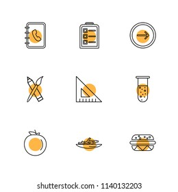 food health  nutrious  healthy  icon vector design  flat  collection style creative  icons  coffeem  fruits  pear  clipboard  bell  fastfood  junkfood  9 Icon set