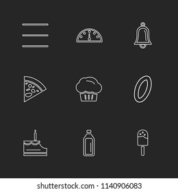 food health  nutrious  healthy  icon vector design  flat  collection style creative  icons  coffeem  fruits  pear  clipboard  bell  fastfood  junkfood