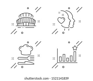 Food, Heart and Sports stadium line icons set. Efficacy sign. Chef hat, Love head, Championship arena. Business chart. Line food outline icon. Vector
