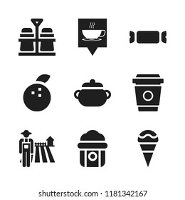 food icon. 9 food vector icons set. farmer, popcorn and coffee cup icons for web and design about food theme