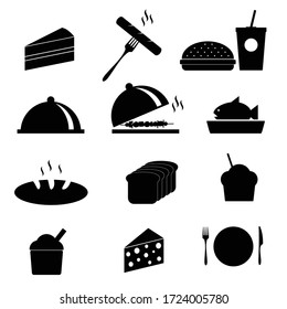 food icon in black vector on white background