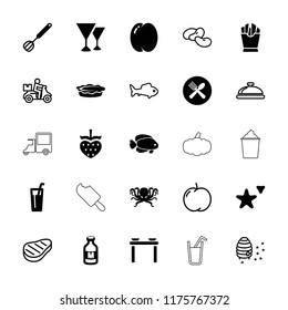 Food icon. collection of 25 food filled and outline icons such as peach, french fries, pie, milk, corolla, apple, bean, dish. editable food icons for web and mobile.
