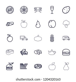 Food icon. collection of 25 food outline icons such as wheat, field, potato, apple, pear, peach, fish, wrap sandwich, donut. editable food icons for web and mobile.
