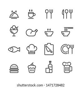 food icon line set vector