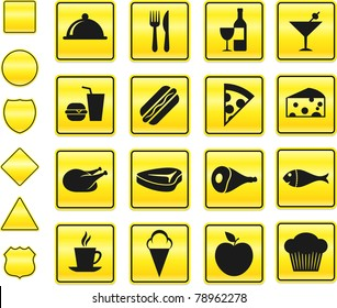 Food Icon on Yellow Sign Button Collection Original Illustration