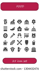 food icon set. 25 filled food icons.  Collection Of - Coffee cup, Dog, Seashell, Cake, Chocolate, Chili, Garden, Cat, Birthday cake, Sourdough, Bpee, Champagne, Bar, Coffee, Hot dog