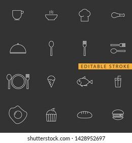 Food icon set. Editable stroke