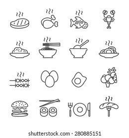 food icon set, line version, vector eps10.