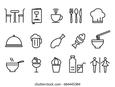 Food icon set, outline style simple