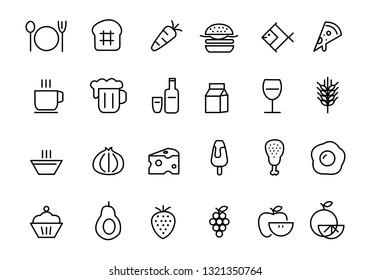 food icon set, vector
