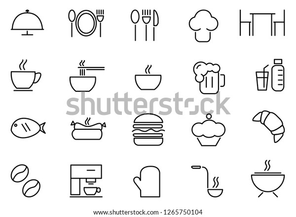 food icon set, vector,Collection of restaurant thin line icons