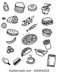 Food icons in black outlined style. Vector collection of fastfood restaurant icons.