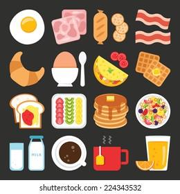 Food icons, breakfast