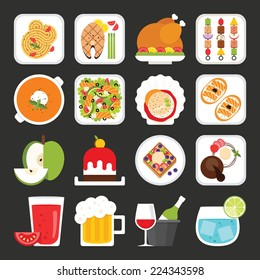 Food icons, dinner