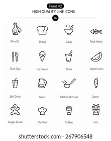 Food Icons Line Series: line food icons including coffee, soup and healthy food