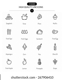 Food Icons Line Series two: line food icons including sweet, pizza, vegetables and fruits