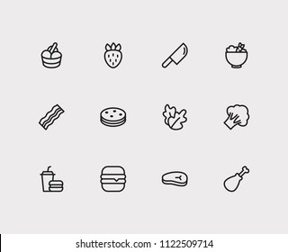 Food icons set. Biscuit and food icons with bacon, healthy food and berry. Set of sandwich for web app logo UI design.