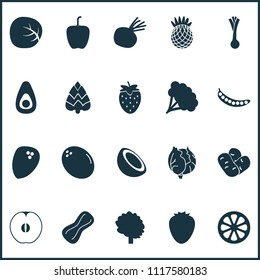 Food icons set with coconut, bell pepper, pineapple and other bulgarian pepper elements. Isolated vector illustration food icons.