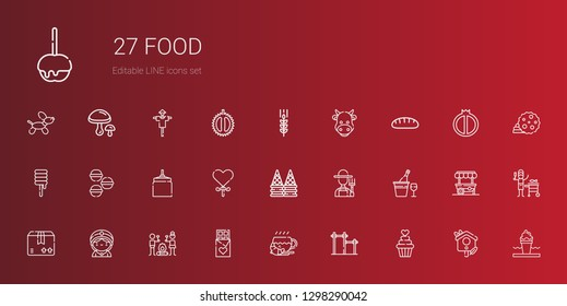 food icons set. Collection of food with cupcake, bar, coffee, chocolate, smore, seer, package, champagne, farmer, ice cream, lollipop, oat, macarons. Editable and scalable food icons.