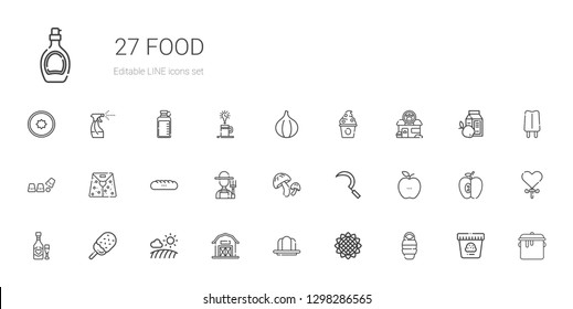 food icons set. Collection of food with sleeping bag, sunflower, gelatine, barn, field, ice cream, wine, healthy food, sickle, mushroom, farmer. Editable and scalable icons.