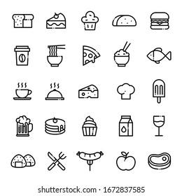 Essenssymbole mit bearbeitbarem Schlaganfall gesetzt. Symbole der Vektorillustration. Mit Symbolen wie Brot, Kuchen, Muffin, Tako, Hamburger, Kaffee, Nudeln, Pizza, Reis, Fisch, Käse, Kochmütze, Eis, Bier, Milch, Wurst.