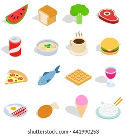 Food icons set in isometric 3d style isolated on white background