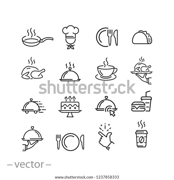 food icons set, line signs on white background - editable vector illustration eps10