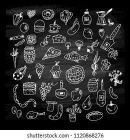 Food icons sketches collection on the blackboard. Vector graphic illustration
