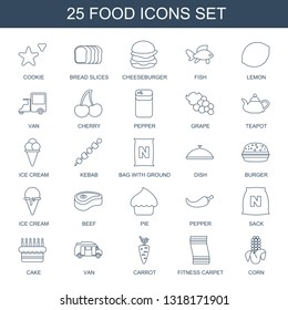 food icons. Trendy 25 food icons. Contain icons such as cookie, bread slices, cheeseburger, fish, lemon, van, cherry, pepper, Grape, teapot, ice cream. food icon for web and mobile.
