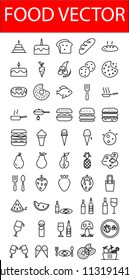 Food icons vector illustrations