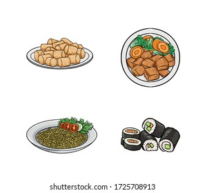 Food Illustration includes Tater Tots, Chicken Teriyaki, Noodles, and Sushi. Can be used for logo, icon, restaurant menu, packaging, and graphic.