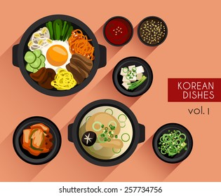 Food Illustration : Korean food :Vector Illustration