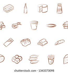 Food images. Background for printing, design, web. Seamless. Binary color.
