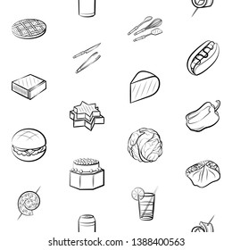 Food images. Background for printing, design, web. Usable as icons. Seamless. Monochrome binary, black and white.