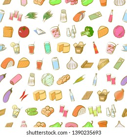 Food images. Background for printing, design, web. Usable as icons. Seamless. Colored.