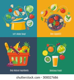 Food infographic. Flat style. Shopping basket. Grilled vegetables, soup and juice infographic.