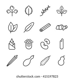 Food ingredient icons for application set 1. Included the icons as bamboo shoots, cinnamon, parsley, roselle, thyme, bitter and more.
