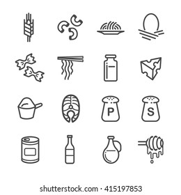 Food ingredient icons for application set 5. Included the icons as grain, barley, milk, cheese, honey, noodle and more.