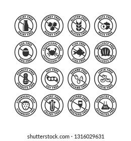 Food ingredients allergens black stamp label set. Allergens free vector labels. Gluten free, dairy free, peanut free label stickers.