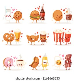 Food kawaii vector cartoon expression characters of fastfood hamburger loving doughnut emoticon illustration valentines set of burger emotion kissing coffee emoji in love isolated on white background