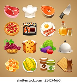 Food and Kitchen Accessories Icons Set1. In the EPS file each element is grouped separately.