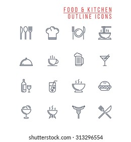 Food And Kitchen Outline Icons
