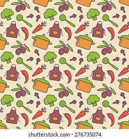 Food and kitchen seamless pattern. Cute background with colorful icons for culinary theme. Vector illustration.