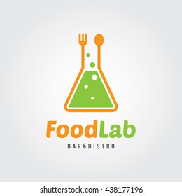 Food Lab Logo Template. Lab test tube with spoon and fork. For restaurant, cafe, bar.